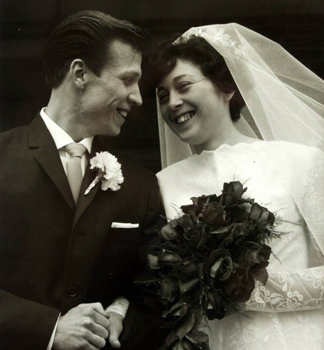 tony white and wife on wedding day
